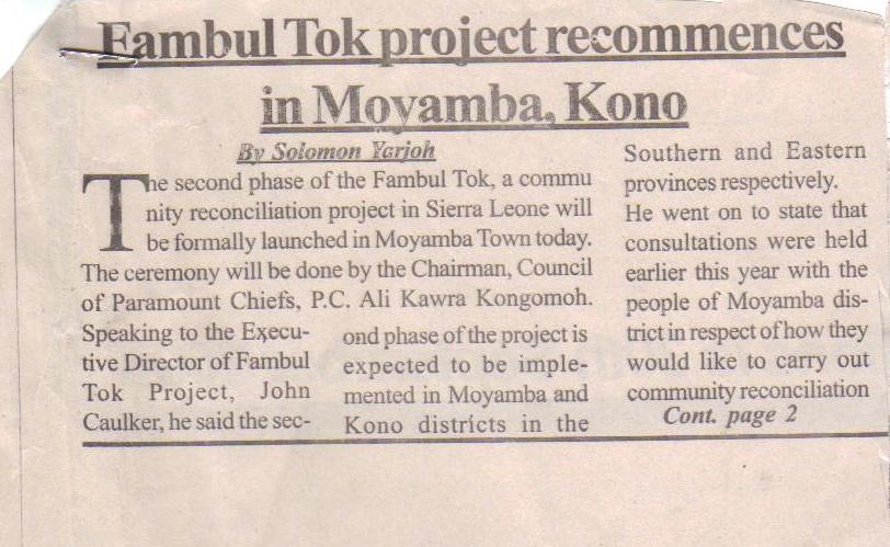 Moyamba launch, The News, p. 1