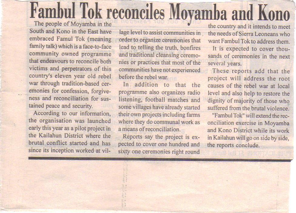 Announcement of Moyamba, Kono
