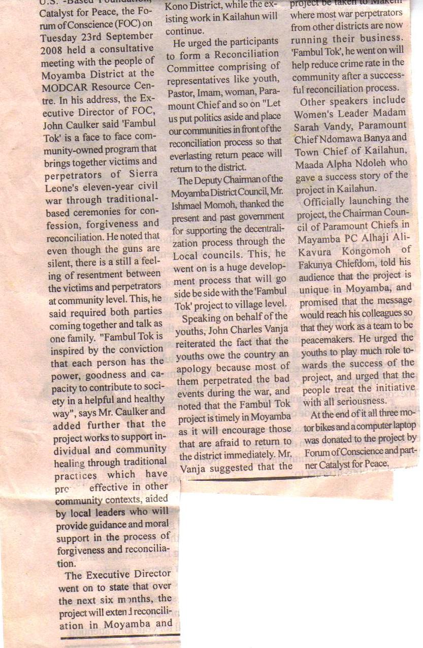 Moyamba launch, Std. Times, p. 2