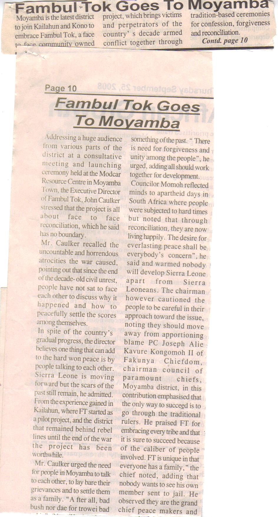 more on Moyamba launch