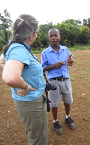 The Peace Club president at Panlap Community Secondary School converses with Libby Hoffman