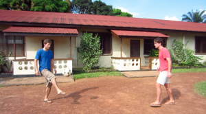 Colin and Gabe play at the Kenema Pastoral Centre