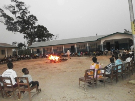 bon fire at Luawa Islamic secondary school in Kailhun