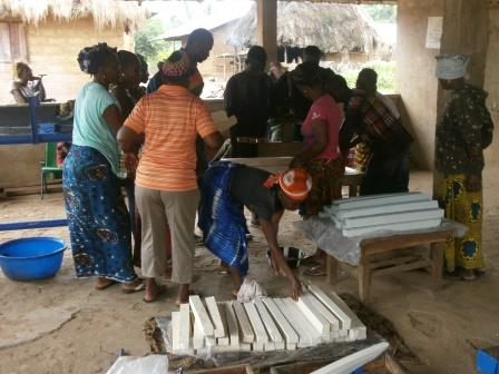 Peace Mothers making soap for Ebola prevention campaign
